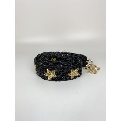 MOYNA Beaded Purse Strap- Black/Gold Stars