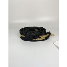 MOYNA Beaded Purse Strap- Black/Gold Lightning Bolts