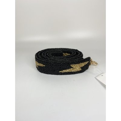 MOYNA Beaded Purse Strap- Black/Gold Lightning Bolts