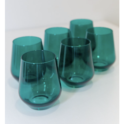 Estelle ESTELLE COLORED WINE STEMLESS - SET OF 6 {EMERALD GREEN}
