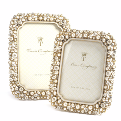 Two's Company TIMELESS CRYSTAL AND PEARLS PHOTO FRAMES- 3 1/2''x5''
