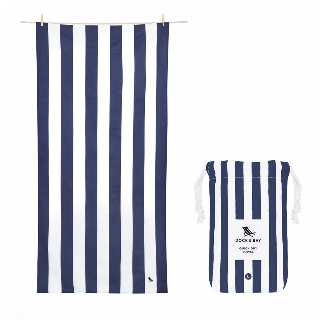 Dock & Bay QUICK DRY TOWEL - CABANA COLLECTION- NAVY BLUE (65x31)''