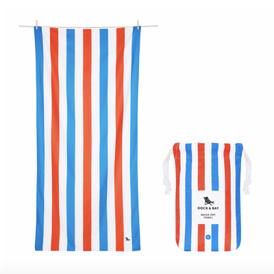 Dock & Bay QUICK DRY BEACH TOWEL - SUMMER COLLECTION- BLUE/RED (65X31)''