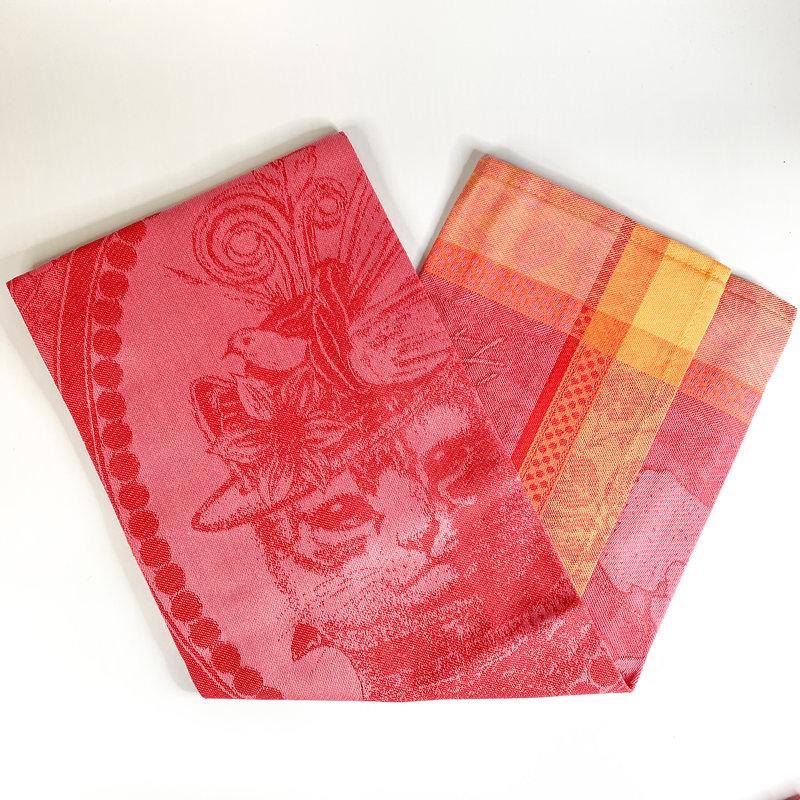 Garnier Thiebaut 'MADAME CHAT ROSE Kitchen Towel 22''''x30'''', 56cmx77cm, 100% Cotton''
