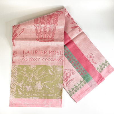 Garnier Thiebaut 'LAURIER EN POT ROSE Kitchen Towel 22''''x30'''', 56cmx77cm, 100% Cotton''