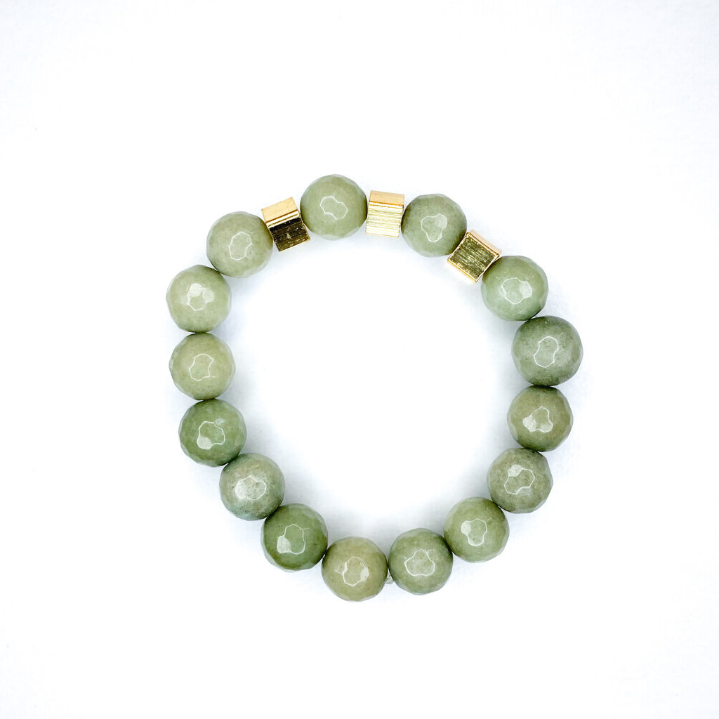 Laura McClendon Army Beaded Bracelet with 3 Square Gold