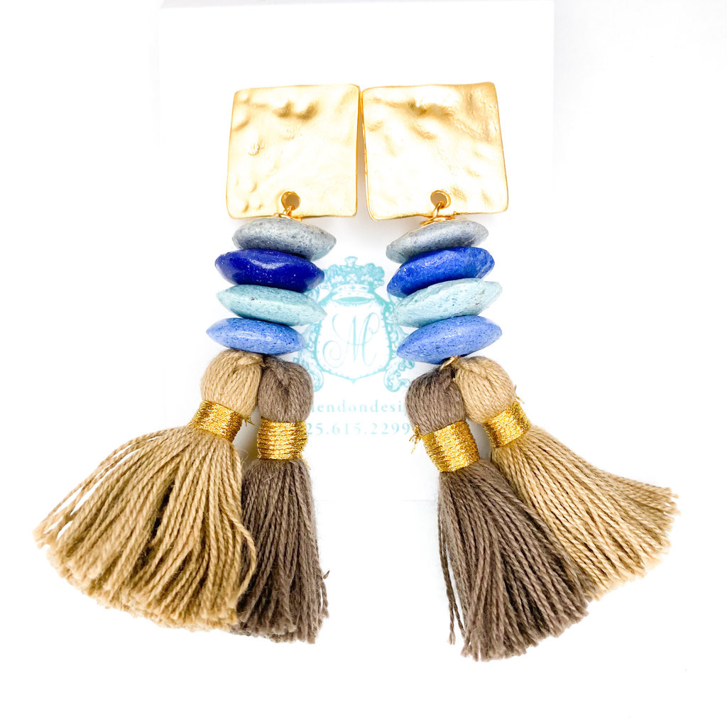Laura McClendon Beaded Tassel on Hammered Square Blue/Brown