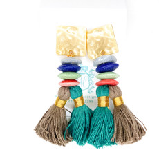 Laura McClendon Beaded Tassel on Hammered Square Teal/Brown