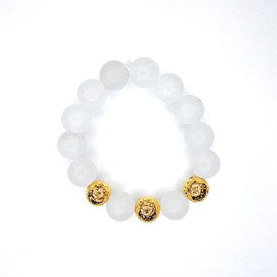 Laura McClendon White with Gold Bead Bracelet