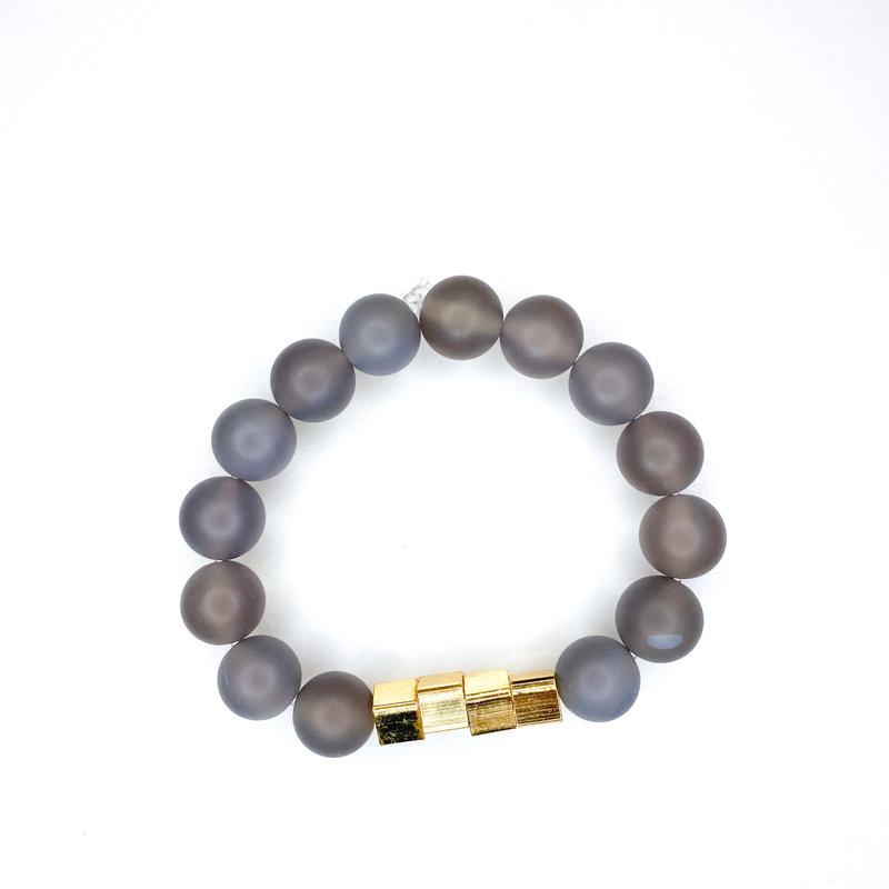 Laura McClendon Matte Gray Bracelet Square Beads