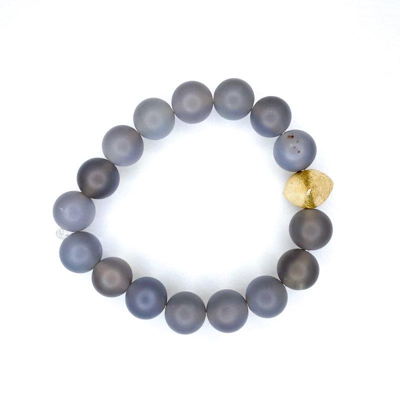 Laura McClendon Matte Gray Bracelet Gold Triangle