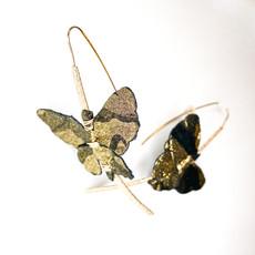 Laura McClendon Butterfly Earring Black/Gold 2