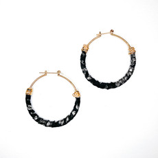 Laura McClendon Black Leather Hoops