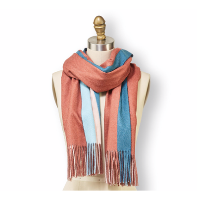 Two's Company Multicolor Scarf with Fringe- design 1