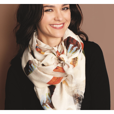 Two's Company Falling Feathers Scarf- ivory