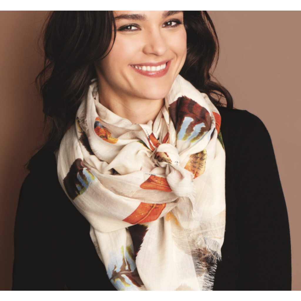 Two's Company Falling Feathers Scarf- taupe