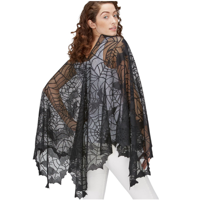 Two's Company Bootiful Lace Dress Up Poncho- spider web