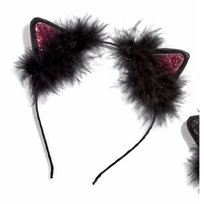 Two's Company Cat Ears Sequin Feather Headband- red