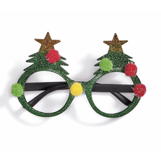 Two's Company Festive Glitter Glasses- tree
