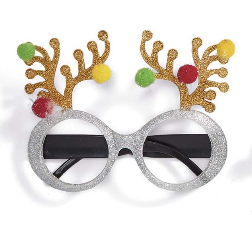 Two's Company Festive Glitter Glasses- antlers