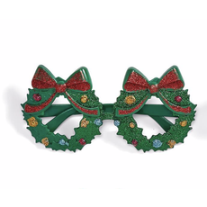 Two's Company Festive Glitter Glasses- wreath