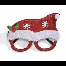 Two's Company Festive Glitter Glasses- santa hat