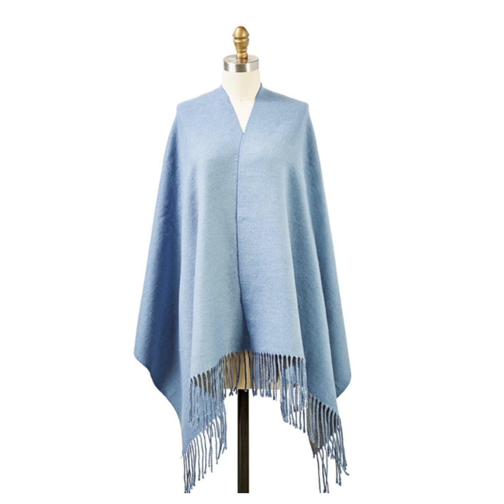 Two's Company Reversible Cashmere-Like Scarf/Shawl (blue)