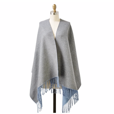 Two's Company Reversible Cashmere-Like Scarf/Shawl (grey)