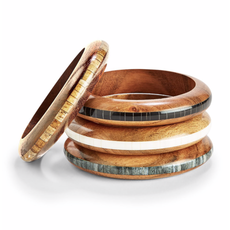 Two's Company Wood Slip On Bangle- white