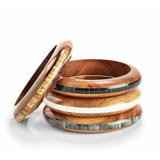 Two's Company Wood Slip On Bangle- natural