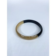 Two's Company Color Block Slip On Horn Bangle- narrow (black/gold)