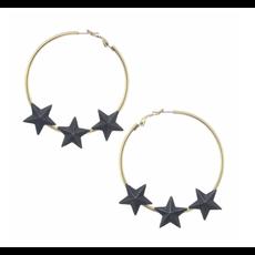 Tova Gold plated brass base metal hoop star earrings