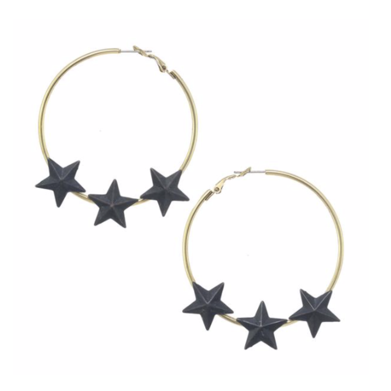 Tova Gold plated brass base metal hoop star earrings
