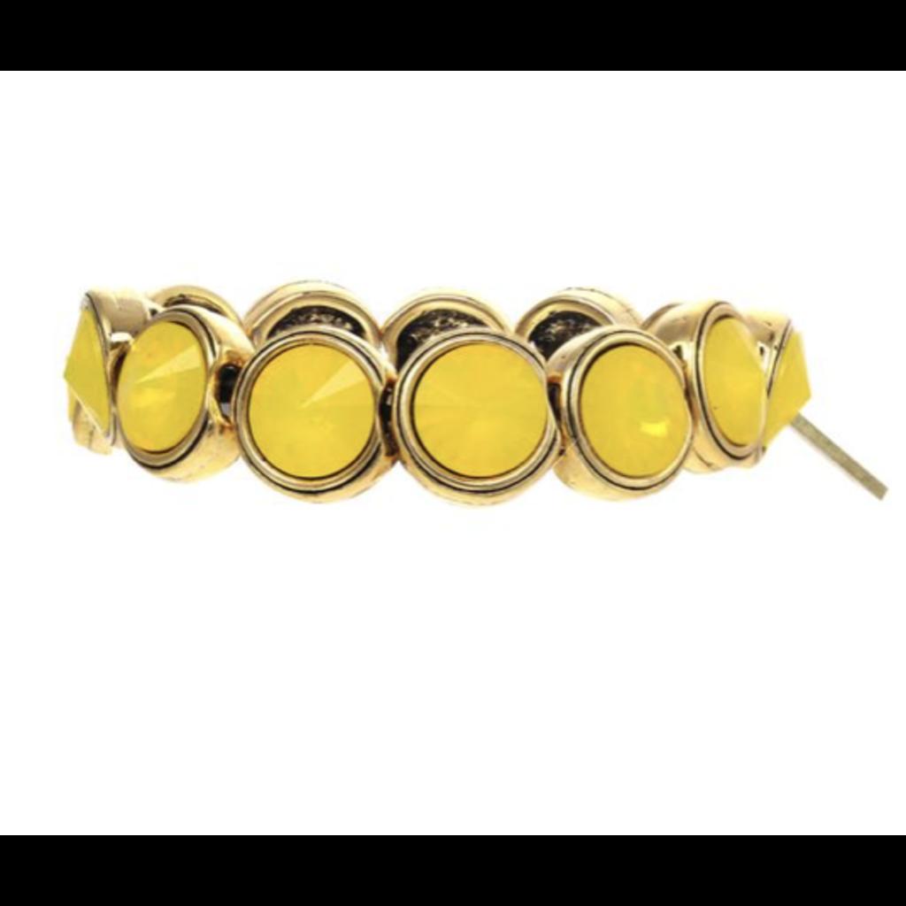 Tova Gold plated pewter stretch bracelet w/ Swarovski Crystals