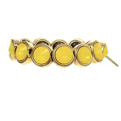 Tova Gold plated pewter stretch bracelet w/ Swarovski Crystals