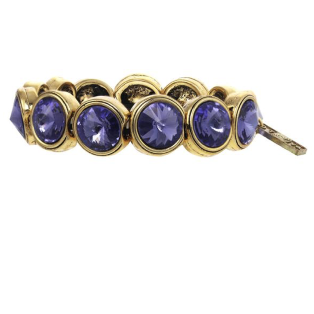 Tova Antique Gold plated stretch bracelet with Purple Swarovski Crystals