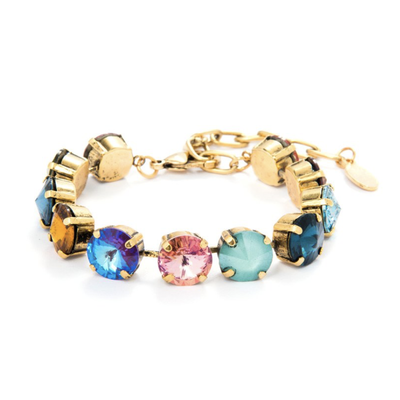 Tova Antique Gold Plated Multicolor Swarovski Crystal Bracelet