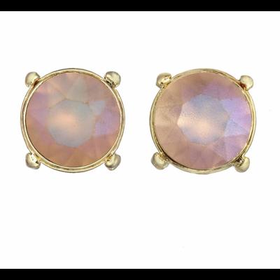 Tova Gold Plated Pink Swarovski Crystal Studs