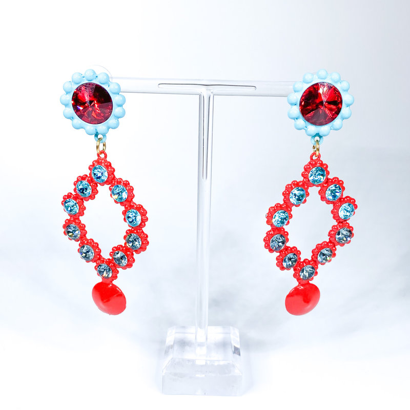 Tova Turquoise and Red painted pewter earrings with Swarovski Crystals