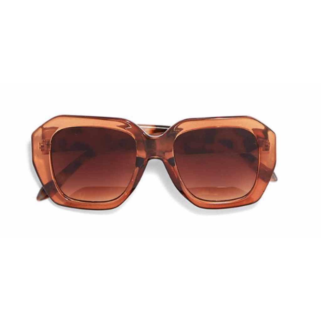 Two's Company Oversized Sunglasses- tan w/ wood case