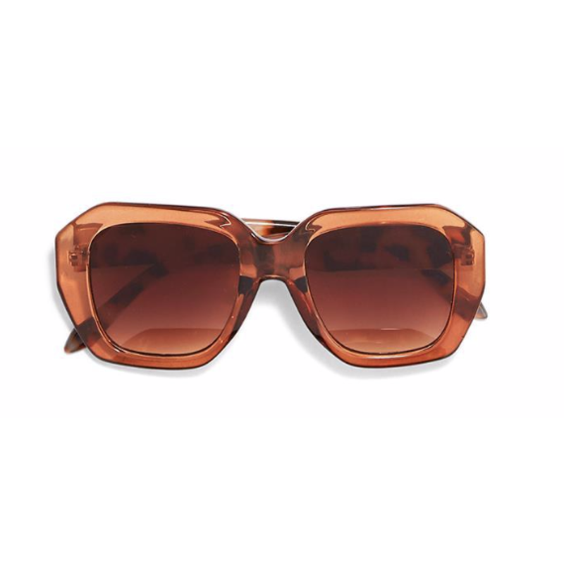 Two's Company Oversized Sunglasses- tan w/ wood case