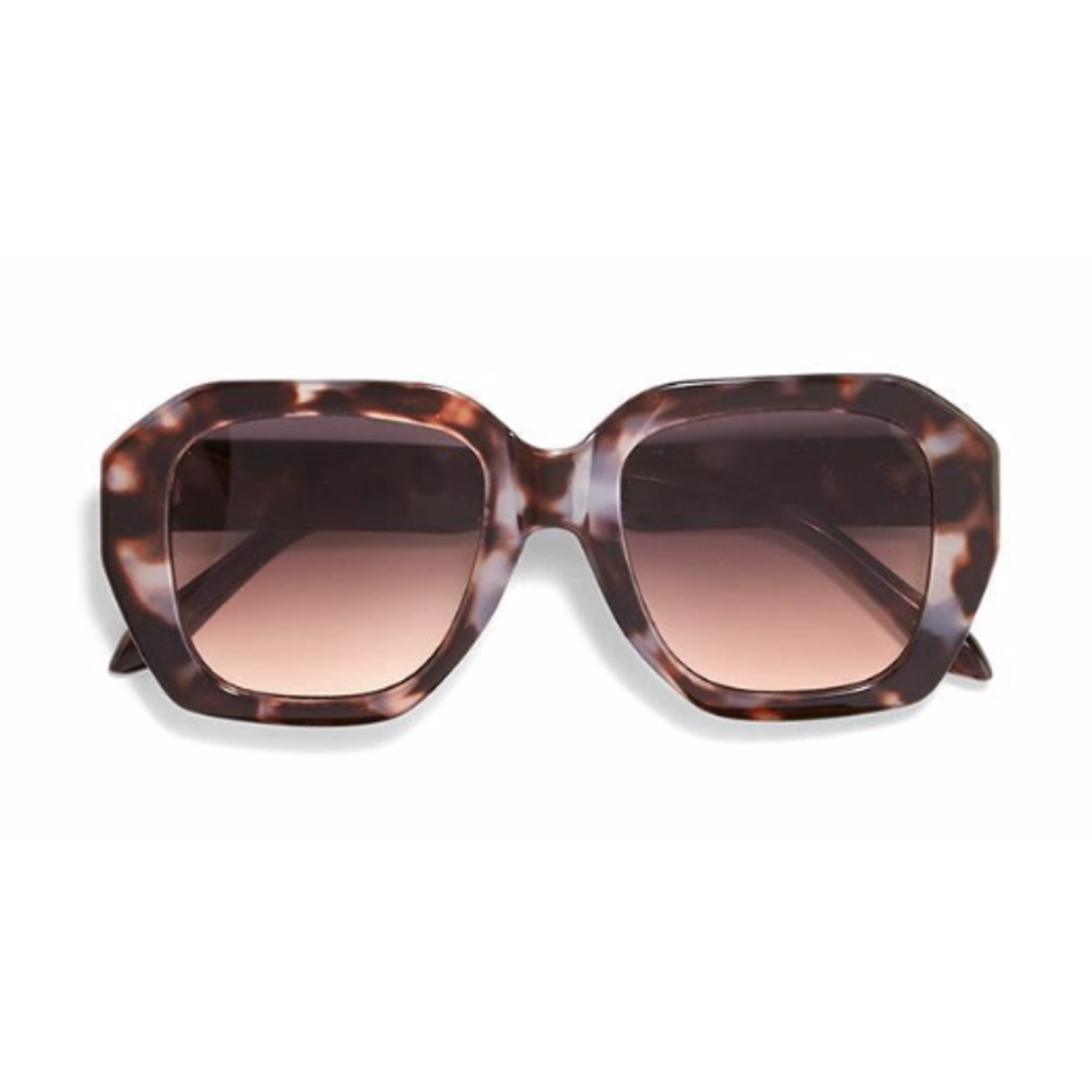 Two's Company Oversized Sunglasses- purple tortoise w/ wood case