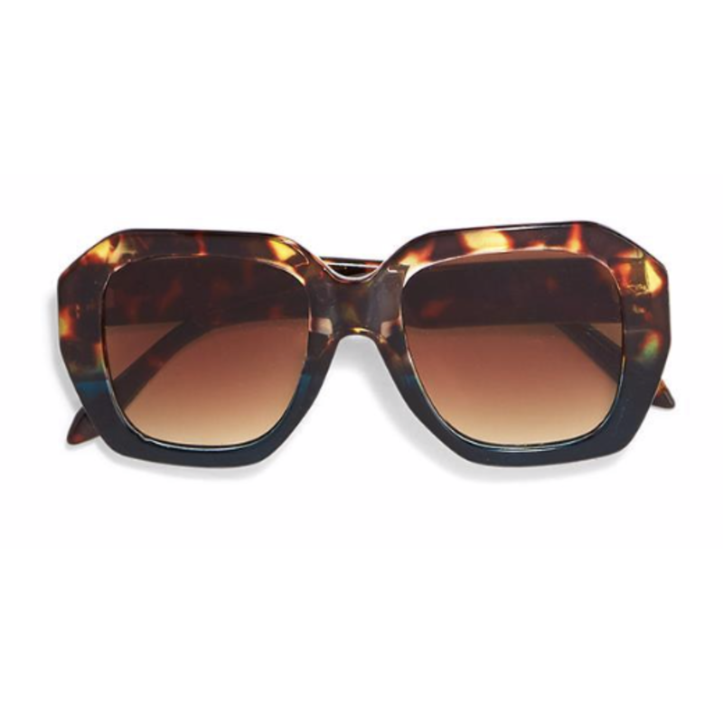 Two's Company Oversized Sunglasses- tortoise w/ wood case