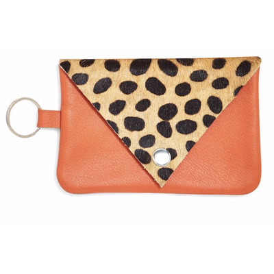 Two's Company Genuine Cowhide Multipurpose Keyring Bag- orange