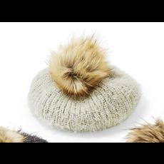 Two's Company Mohair-Like Knit Hat w/ faux fur Pom Pom- grey