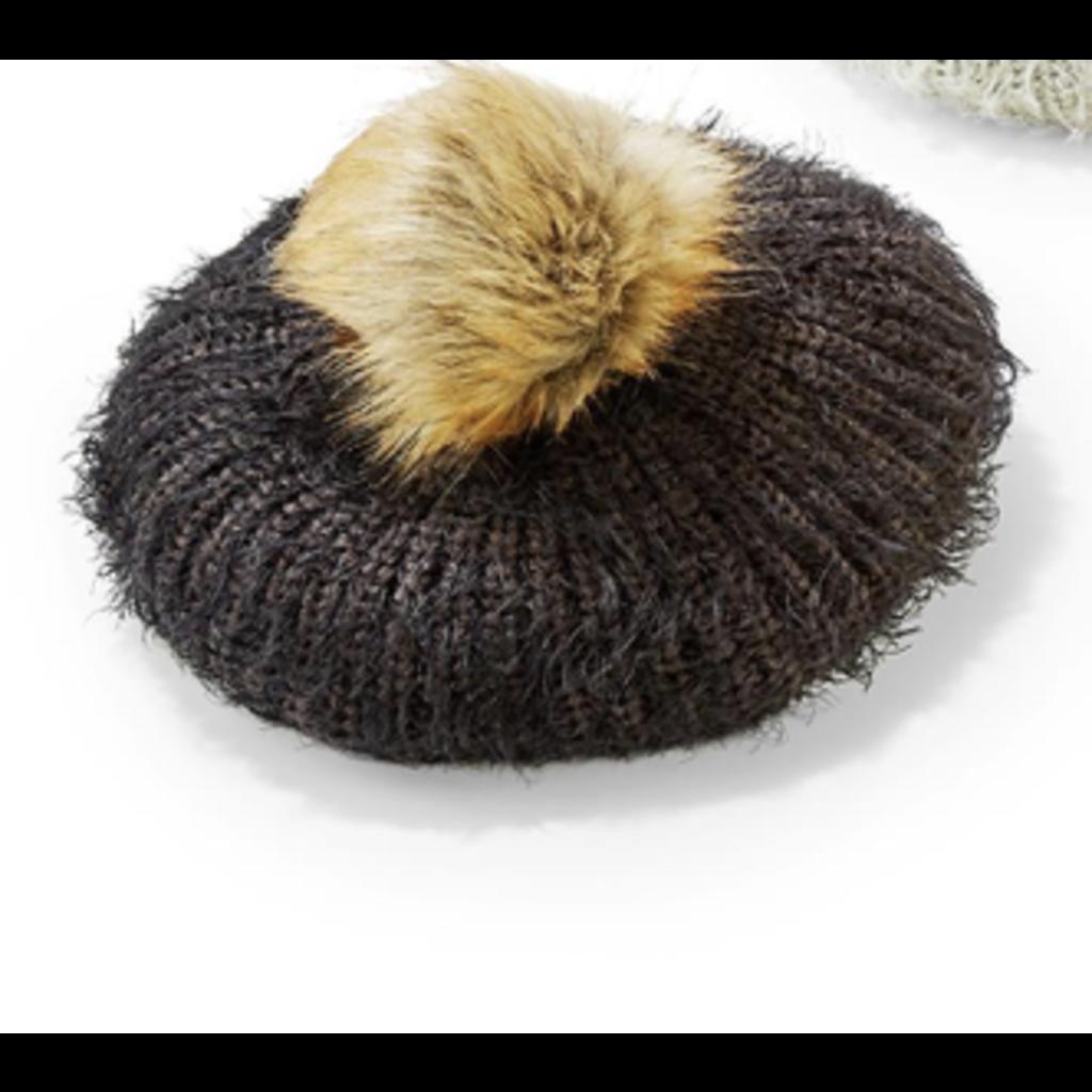 Two's Company Mohair-Like Knit Hat w/ faux fur Pom Pom- black