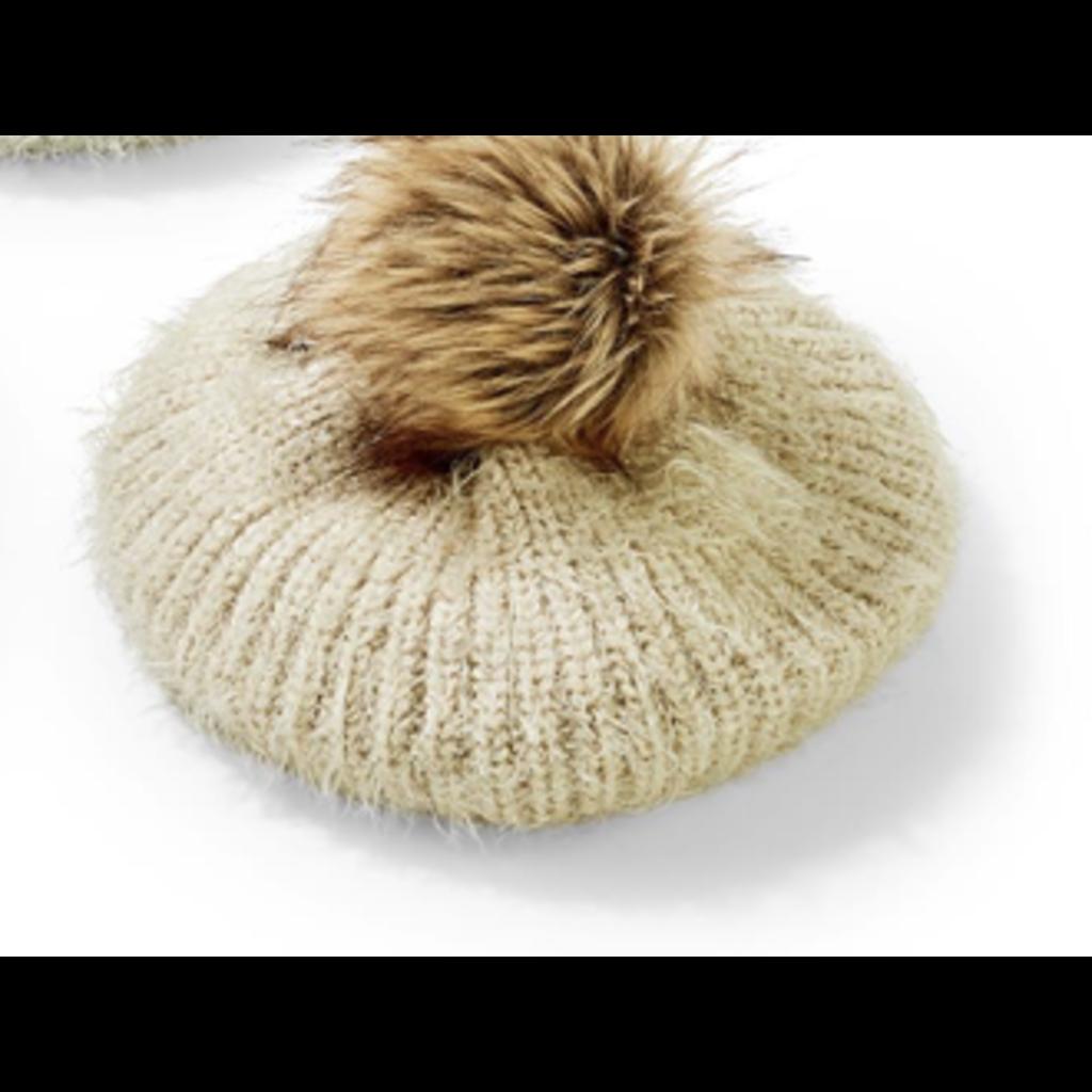 Two's Company Mohair-Like Knit Hat w/ faux fur Pom Pom- camel