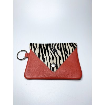 Two's Company Genuine Cowhide Multipurpose Keyring Bag- red