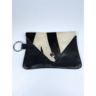 Two's Company Genuine Cowhide Multipurpose Keyring Bag- black