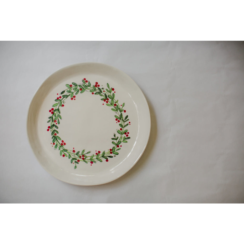Relish Christmas Round Platter with wreath